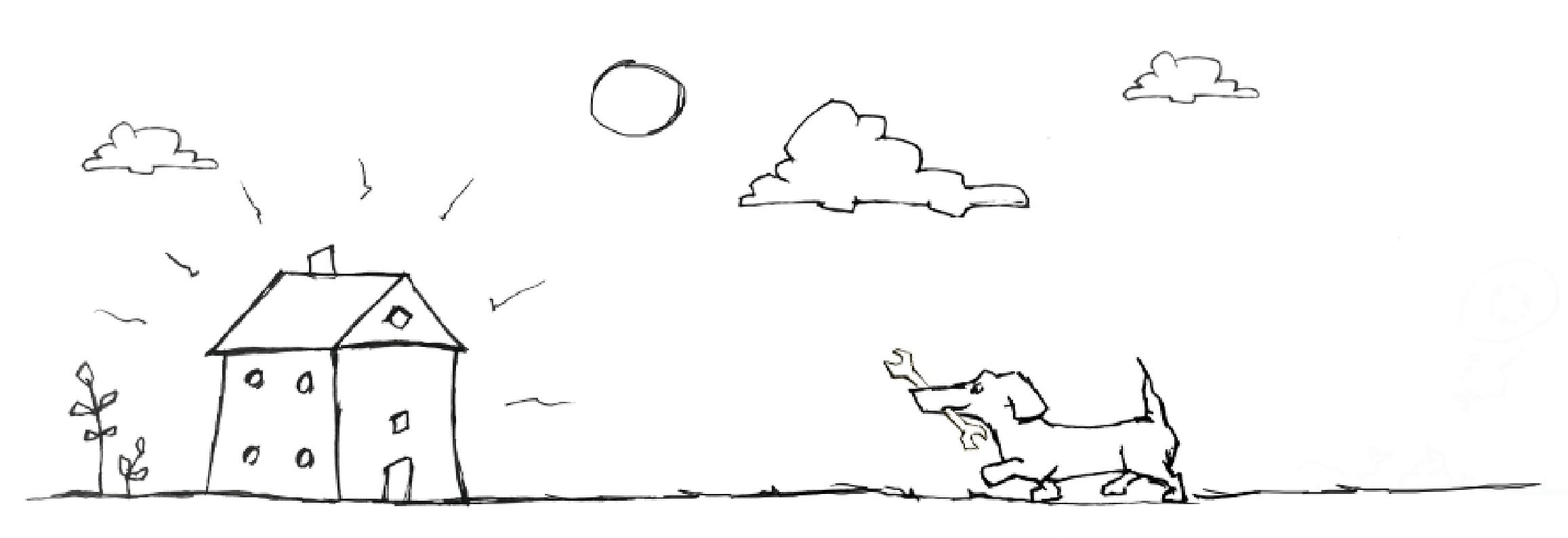 Illustration af en hund med en svensknøgle i munden på vej hen til et hus