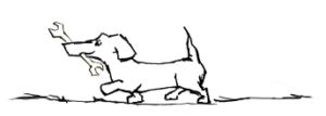 Illustration af en hund med en svensknøgle i munden