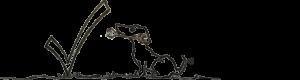 Illustration af en glad hund med en svensknøgle i munden