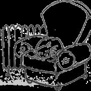 Illustration af en kat i en lænestol ved siden af en radiator